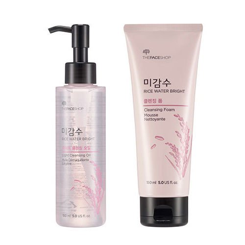 Koco4u - [The Face Shop] Rice Water Bright Cleansing Oil + Foam Set Bundle with Oil Blotting Paper - Korean Face Cleanser Wash for Pores Sensitive Oily Acne Skin