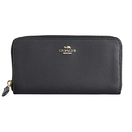 Coach Coach F16612 BM 02 Pebbled Leather Accordion Zip Around Wallet (IM/Black)