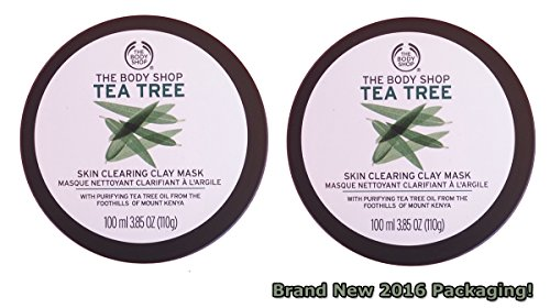 The Body Shop - The Body Shop Tea Tree Oil Skin Clearing Clay Face Mask (2 Pack) New 2016 Packaging with Purifying Tea Tree Oil from the Foothills of Mount Kenya