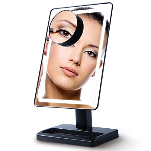 Livin' Well - Lighted Makeup Mirror with Magnification 10x – LightTouch Dimmable Make Up Mirror, Cosmetic Face Mirror with Light LED Soft-Light (Cordless)