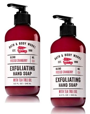 null - Set of 2 Bath and Body Works Frosted Cranberry Exfoliating Hand Soap With Tea Tree Oil 8.3 Ounce