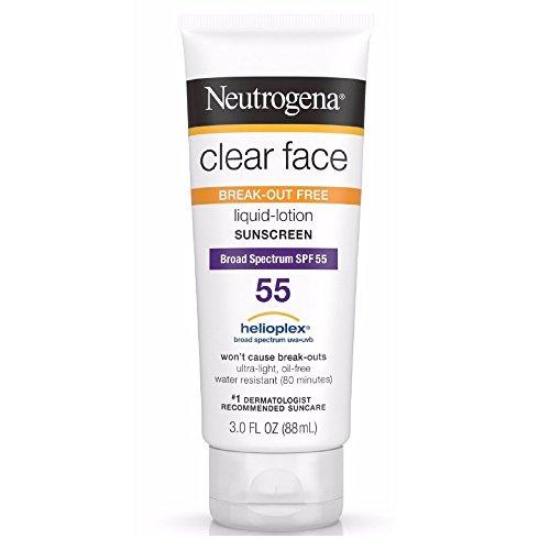 Neutrogena - Neutrogena Clear Face Break-Out Free Liquid-Lotion Sunscreen SPF 55 3 oz (Pack of 4)