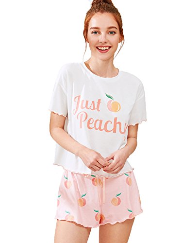 Milumia - Milumia Women's Peach Fruit Print Lettuce Edge Tee and Shorts Pajama Sets Pink Small