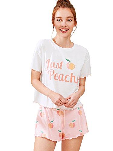Milumia - Milumia Women's Peach Fruit Print Lettuce Edge Tee and Shorts Pajama Sets Pink Small