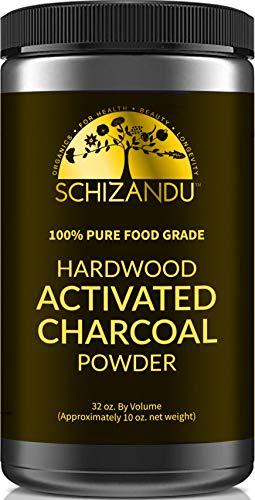 Schizandu Organics - Activated Charcoal Powder, Food Grade Detox, Huge Jar, In Bulk, For Detoxification,Teeth Whitening, Digestive System, Daily Beauty Face Mask,To Prevent Hangover,Vegan,eBook
