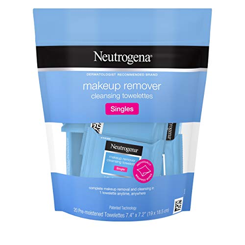 Neutrogena - Neutrogena Makeup Remover Cleansing Towelette Singles, Daily Face Wipes To Remove Dirt, Oil, Makeup & Waterproof Mascara, Individually Wrapped, 20 Count