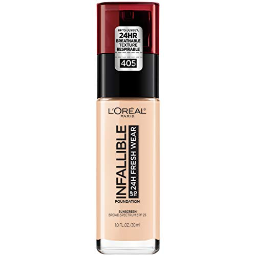L'Oreal Paris - L'Oréal Paris Makeup Infallible up to 24HR Fresh Wear Liquid Longwear Foundation, Lightweight, Breathable, Natural Matte Finish, Medium-Full Coverage, Sweat & Transfer Resistant, Porcelain, 1 fl. oz.