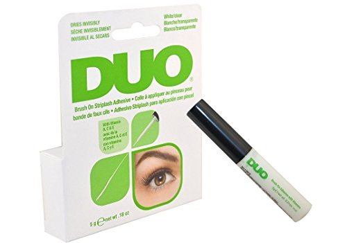 Godefroy - Duo Brush on Striplash Adhesive White/clear for Strip Lashes False Lashes Thin Brush Allows Effortless Application- Size 5 G / 0.18 Oz