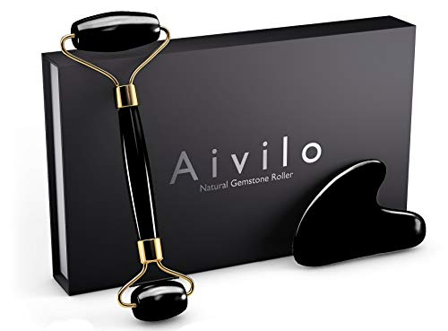 Aivilo - Aivilo Natural Obsidian Roller and Gua Sha - 2 in 1 Facial Face Roller and Massaging Skin Healing Toning Massage Jade Roller Alternative (Onyx - Black)