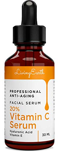 Living Earth Vitamin C Serum with Hyaluronic Acid for Face, Eyes and Neck - Organic Skin Care and All Natural Ingredients - Best Professional Anti Aging, Anti Wrinkle, Fade Age Spots and Heal Sun Damage, 1 oz - M