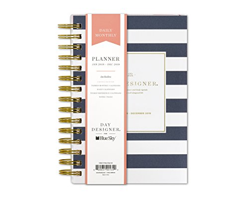 "Blue Sky - Day Designer for Blue Sky 2019 Daily & Monthly Planner, Flexible Frosted Cover, Twin-Wire Binding, 5"" x 8"", Navy Stripe"