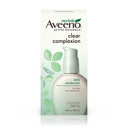 Aveeno - Aveeno Clear Complexion Salicylic Acid Acne-Fighting Daily Face Moisturizer with Total Soy Complex, For Breakout-Prone Skin, Oil-Free and Hypoallergenic, 4 fl. oz