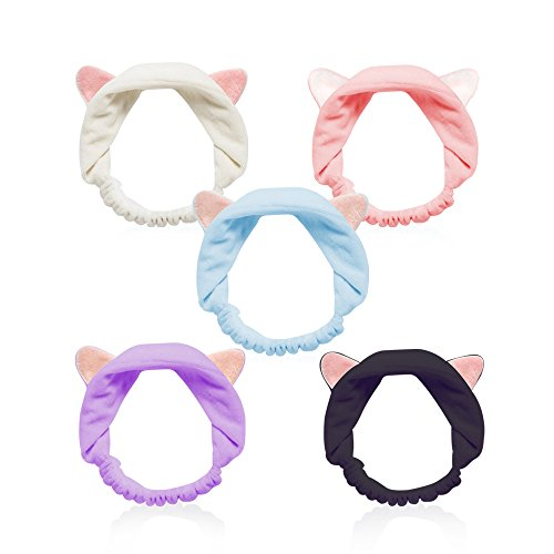 Teenitor - Cat Ears Headbands, Teenitor Elastic Women's Lovely Etti Hair Band, Wash Face Spa Headband-Washable Facial Band Makeup Wrap Headbands Christmas Gift Fits All Head Sizes, 5pcs