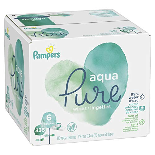 Pampers - Pampers Aqua Pure Water-Based Baby Diaper Wipes, 6 Pop-Top Travel Packs - Hypoallergenic, Sensitive, and Unscented - 336 Count