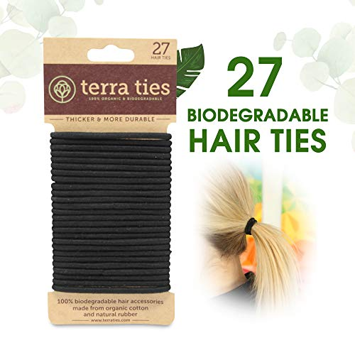 Terra Ties - Biodegradable Elastic Hair Ties for Women & Men - Organic No Crease Black Hair Tie Ponytail Holders and Hairties for Buns - Plastic Free Hairbands for Women and Mens Hair - 5mm (27 count)
