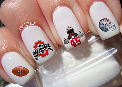 AM Nails - Ohio State Water Nail Art Transfers Stickers Decals - Set of 38