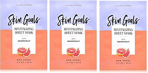"Bath & Body Works - 3 Pack ""Skin Goals"" Revitalizing Grapefruit Face Sheet Mask"