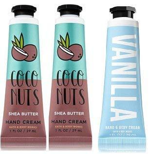 null - Bath and Body Works 2 Pack Vanilla Coconut Hand Cream and 1 Vanilla Hand Cream 1 Oz.