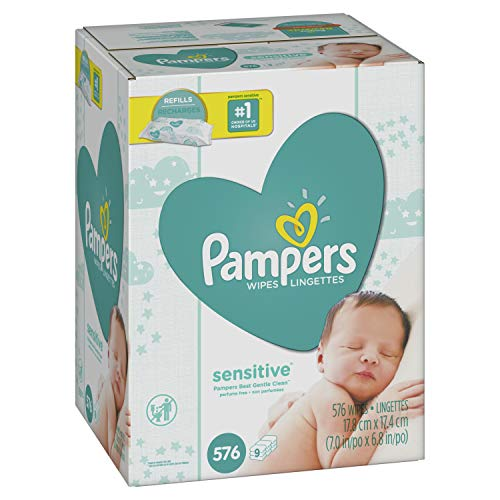Pampers - Pampers Sensitive Water-Based Baby Diaper Wipes, 9 Refill Packs for Dispenser Tub - Hypoallergenic and Unscented - 576 Count