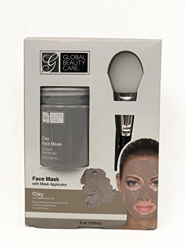 Global Beauty Care - Deep Cleansing Clay Face Mask with Applicator, Contains Vitamins A, C, E