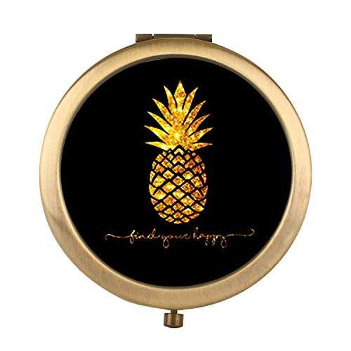 amuseds - amuseds Pineapple Makeup Mirror [New Version] Portable Hand Mirror Round Mini Pocket Mirror with 2 x 1x Magnification for Woman,Mother,Girls,Great Gift.(Multiple Pictorial Style)