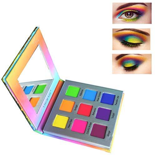 null - Highly Pigmented Eyeshadow Palette,YMH BEAUTE 9 Colors Bright Eye Makeup Palette Matte Eye Shadow Palettes Long Lasting Waterproof Colorful Cruelty-free Vegan Cosmetics, Rainbow