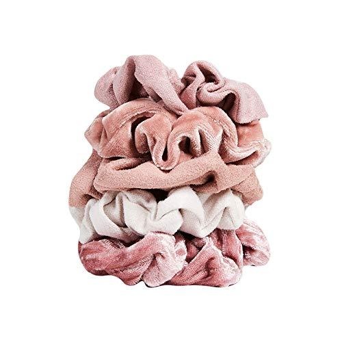 Kitsch - Velvet Hair Scrunchies for Women- 5 pack Velvet Scrunchie for Ponytails, Braids and Buns (Pastel/Blush/Mauve)