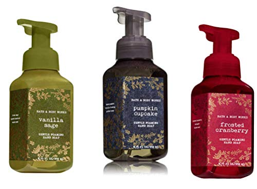 Bath and Body Works - Gentle Foaming Hand Soap 3 pack 8.75 each (Vanilla Sage, Frosted Cranberry, Pumpkin Cake)