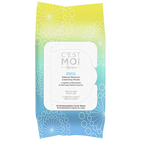 C'est Moi - C'est Moi Gentle Makeup Remover Cleansing Wipes - Organic Aloe, Glycerin, Green Tea and Cucumber Extract Biodegradable Facial Wipes - 30 Count
