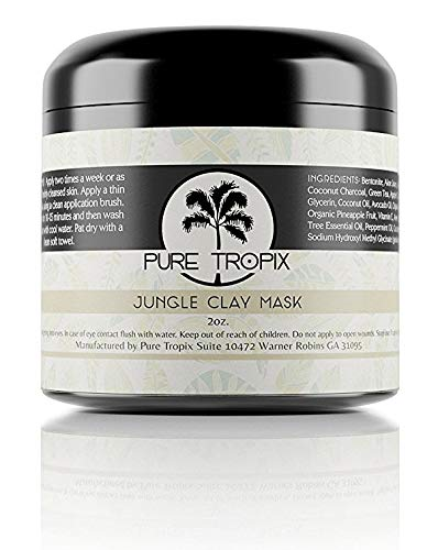 PURE PLANT HOME - Pure Tropix Jungle Clay Face Mask | 100% Natural Bentonite Clay Face Mask | Anti Aging Skin Care & Acne Face Mask | Beauty Skin Care Products | 2 oz (59 ml)