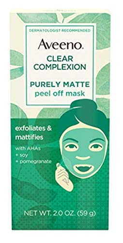 Aveeno - Aveeno Clear Complexion Pure Matte Peel Off Face Mask with Alpha Hydroxy Acids, Soy & Pomegranate for Clearer-Looking Skin, Non-Comedogenic, Paraben- & Phthalate-Free, 2.0 oz