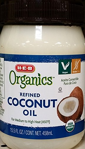 HEB Organics - HEB Organic Refined Coconut Oil 15.5 Oz (Pack of 2)