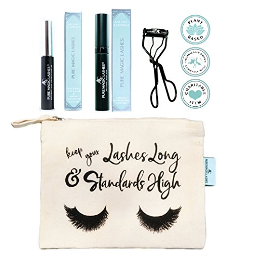 Adeline Campbell - 4 in 1 BUNDLE - Includes NATURAL Eyelash Growth Serum + Organic Natural Mascara + Nickle Free Eyelash Curler PLUS Organic Cotton Makeup Travel Bag - CRUELTY FREE