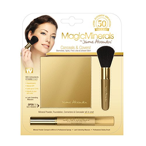 Jerome Alexander - MagicMinerals by Jerome Alexander (3pc Kit) - Mineral Powder Compact, Blending Sponge, Stubby Brush & BONUS Black Lash Extending Mascara - Foundation, Concealer and Corrector All-In-One! Medium Shade