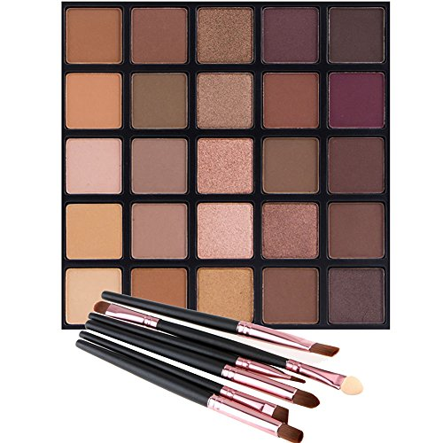 Vodisa - Matte and Shimmer Eyeshadow Palette, Vodisa 25 Smoky Warm Color Eye Shadows Glitter Makeup Kit Make Up Brushes Set Nature Nude Earth Tone Waterproof Beauty Cosmetics High Pigment Powder Pallet 25B