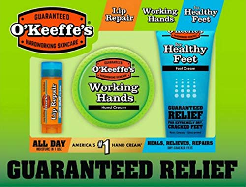 o keefes - O'Keeffe's Gift Set with Working Hands, Healthy Feet Foot Cream & Lip Repair- All Full Sizes