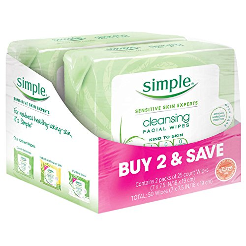 SIMPLE FACE - Simple Face Cleansing Wipes, for Sensitive Skin, 25 ct, Twin Pack
