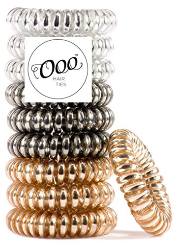 OOO Hair ties - 10 pack Painless PATENTED OOO Hair Ties. Ponytail holder spiral coil traceless hair bands. For all types of hair. LARGE SIZE (Metallics)