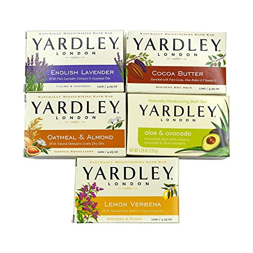 Yardley - Yardley London Soap Bath Bar Bundle - 10 Bars: English Lavender, Oatmeal and Almond, Aloe and Avocado, Cocoa Butter, Lemon Verbena  4.25 Ounce Bars (Pack of 10 Bars, Two of each)