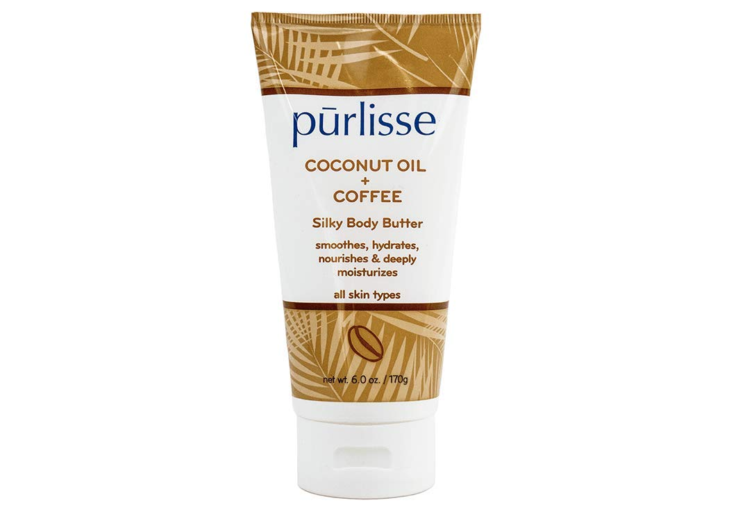 null - purlisse Coconut Oil + Coffee Silky Body Butter - Natural Moisturizer Cream for All Skin Types - Applying Treatment Deeply Hydrates, Nourishes & Moisturizes Skin, 6 Oz