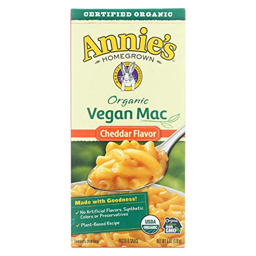 Annie's Homegrown - ANNIE'S HOMEGROWN, Mac&Chs, Og2, Vgn, Ched Flav, Pack of 12, Size 6 OZ, (Vegan 95%+ Organic)