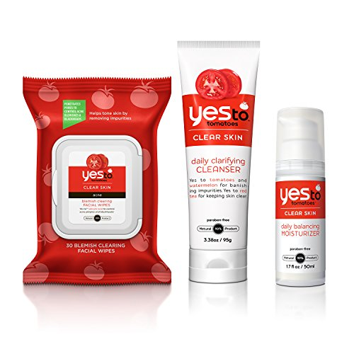 Yes To - Yes To Tomatoes Face Kit - Antioxidant-Rich Products for Clear Skin (Facial Wipes, Clarifying Cleanser, Daily Balancing Moisturizer)