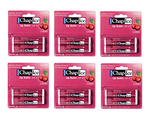 CHAP-ICE - Chap Ice Lip Balm - Soothes, Protects and Moisturizes - 12 Sticks (Cherry)