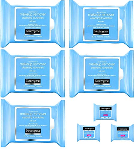 Neutrogena - Neutrogena Makeup Remover Cleansing Towelettes, Daily Face Wipes to Remove Dirt, Oil, Makeup & Waterproof Mascara, 25 ct (5 pack + 3 Bonus Pouches)