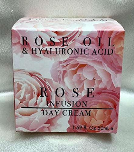Rose Oil & Hyaluronic Acid ROSE OIL & HYALURONIC ACID. ROSE INFUSION DAY CREAM WITH MINERAL-RICH DEAD SEA SALT, ANTIOXIDANT VITAMIN E. 1.69 FL OZ