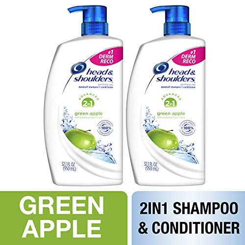 Head & Shoulders Head and Shoulders, Shampoo and Conditioner 2 in 1, Anti Dandruff, Green Apple, 32.1 fl oz, Twin Pack