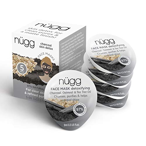 NUGG - nügg Detoxifying Charcoal Face Mask; Deeply Cleanses Pores, Detoxes & Removes Excess Oil; for Normal, Oily, Combination and Acne-Prone Skin; Non-Drying Gel Formula; 5 Pack