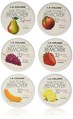 null - LA Colors Nail Polish Remover Pads, Acetone Free Fruit Scent(6 Boxes of 32 Pads)