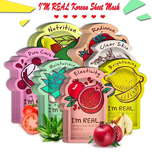 HKML MAIN STORE - I'm REAL Tony moly Face Mask Korean Sheet Face Mask Moisturizing Facial Mask Shrink Pores Anti-Aging Hyaluronic acid Essence