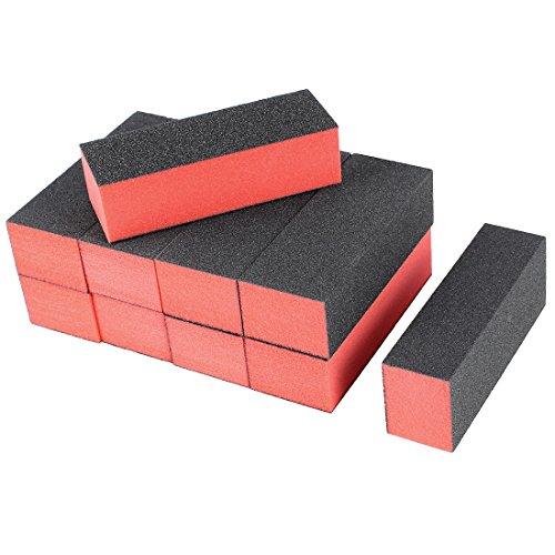 uxcell - uxcell Sponge Nail Finishing Polisher 4 Way Buffer Buffing Block Manicure File Polishing Smooth Tool 10 Pcs Black Red